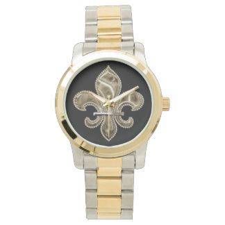 黒の金(紋章の)フラ・ダ・リ 腕時計