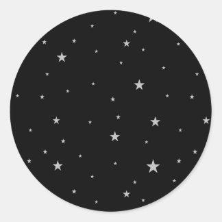 黒の銀製の星 ラウンドシール