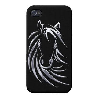黒の銀製の馬頭部 iPhone 4 COVER