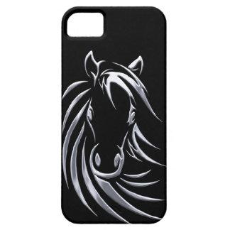 黒の銀製の馬頭部 iPhone SE/5/5s ケース