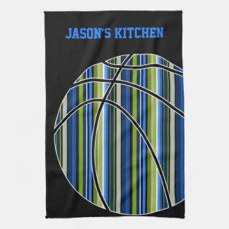 黒の青および緑のストライプのなバスケットボールのデザイン キッチンタオル