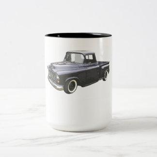 黒の1956年のシボレーの積み込み ツートーンマグカップ