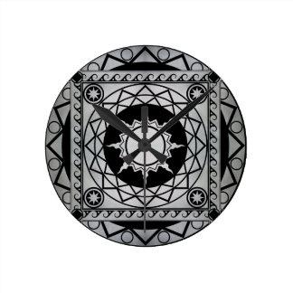 黒のAtlantean技術の銀 ラウンド壁時計
