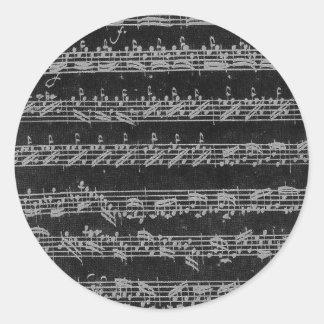 黒のBach Partitaの白 丸形シール・ステッカー