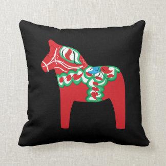 黒のDalaの馬の枕 クッション