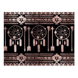 黒のDreamcatcherのばら色の金ゴールドの種族のアズテック人 ポストカード