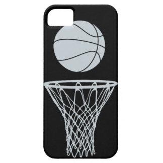 黒のiPhone 5のバスケットボールのシルエットの銀 iPhone SE/5/5s ケース