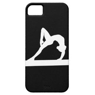黒のiPhone 5の体育専門家のシルエットの白 iPhone SE/5/5s ケース