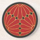 黒のKikuの菊の月曜日の赤く模造のな金ゴールド コースター