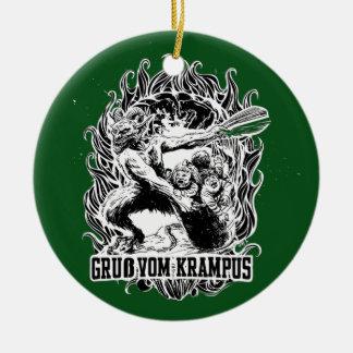 黒のKrampusのクリスマス セラミックオーナメント