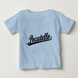 黒のPocatelloの原稿のロゴ ベビーTシャツ