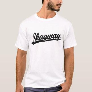 黒のSkagwayの原稿のロゴ Tシャツ