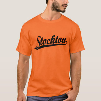 黒のStocktonの原稿のロゴ Tシャツ