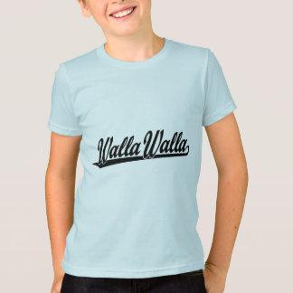 黒のWalla Wallaの原稿のロゴ Tシャツ