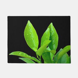 黒のWaterdropsの新しい緑の葉 ドアマット