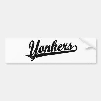 黒のYonkersの原稿のロゴ バンパーステッカー