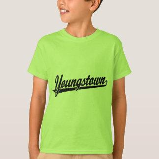 黒のYoungstownの原稿のロゴ Tシャツ