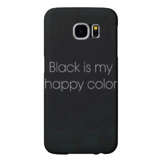 黒は私の幸せな色のIPhone 6の電話箱です Samsung Galaxy S6 ケース