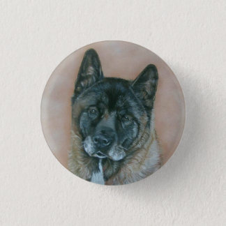 黒は秋田の現実主義者の芸術犬のポートレートに直面しました 3.2CM 丸型バッジ