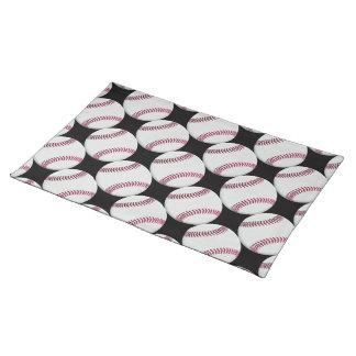 黒または色の野球パターン ランチョンマット