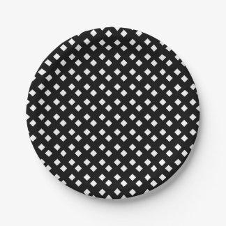 黒ダイヤのデザインの白 ペーパープレート