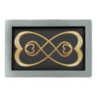 黒ベルトの留め金の金ゴールドのハートの二重無限 長方形ベルトバックル
