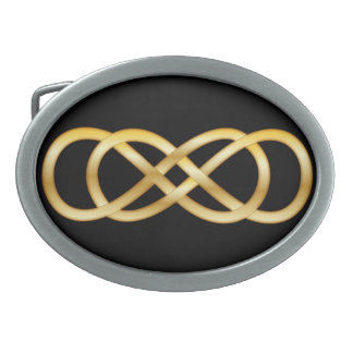 黒ベルトの留め金の金ゴールドの二重無限 卵形バックル