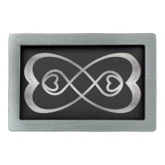 黒ベルトの留め金のSilvのハートの二重無限 長方形ベルトバックル