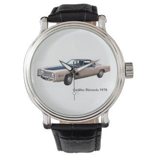 黒ヴィンテージ革腕時計のためのクラシックな車のイメージ 腕時計