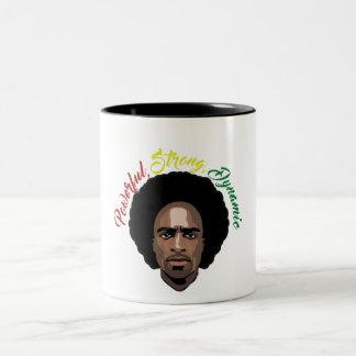黒人男性のコーヒー・マグを祝って下さい ツートーンマグカップ