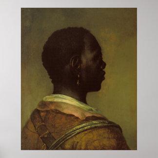 黒人男性の頭部 ポスター