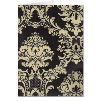 黒及びタンのダマスク織 カード