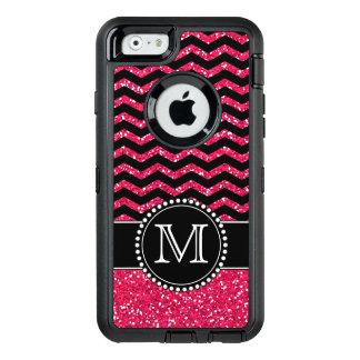 黒及びピンクのグリッターのシェブロンのモノグラムのな擁護者 オッターボックスディフェンダーiPhoneケース