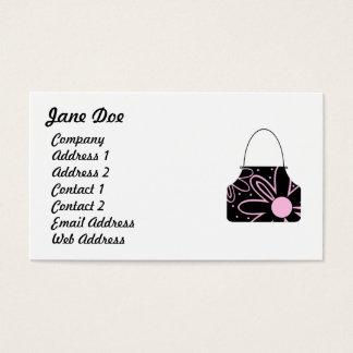 黒及びピンクのフェミニンな花のハンドバッグ 名刺