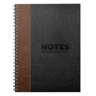 黒及びブラウンによってステッチされる革質 ノートブック