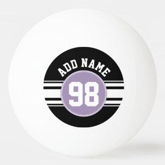 黒及びラベンダーのスポーツのジャージーの名前をカスタムする数 ピンポンボール