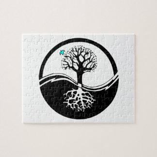 黒及び白陰陽の生命の樹 ジグソーパズル