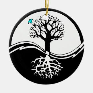 黒及び白陰陽の生命の樹 セラミックオーナメント