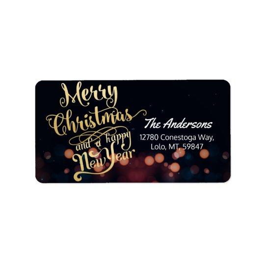 黒及び金ゴールドのクリスマス及び明けましておめでとうのタイポグラフィ 宛名ラベル