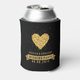黒及び金ゴールドのグリッターのハートの絵 缶クーラー