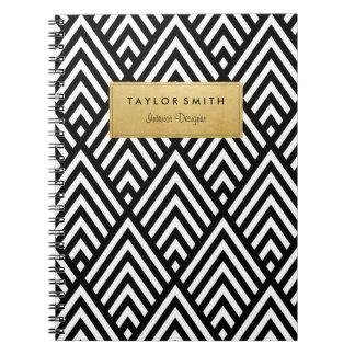黒及び金ゴールドのシェブロンパターンノート ノートブック
