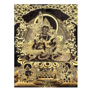 黒及び金ゴールドのチベットの仏教の芸術の郵便はがき ポストカード