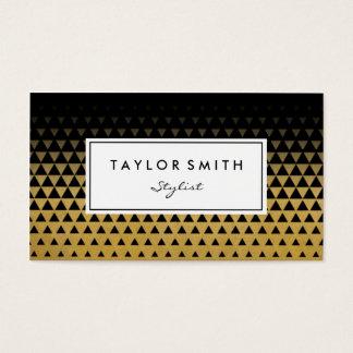 黒及び金ゴールドの三角形パターン名刺 名刺