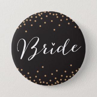 黒及び金ゴールドの紙吹雪の点の花嫁ボタン 7.6CM 丸型バッジ