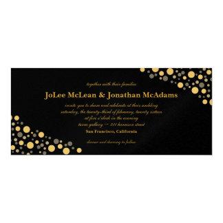 黒及び金ゴールドの紙吹雪の結婚披露宴 10.2 X 23.5 インビテーションカード