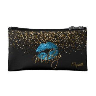 黒及び金ゴールドの色紙片の青いターコイズのグリッターの唇 コスメティックバッグ