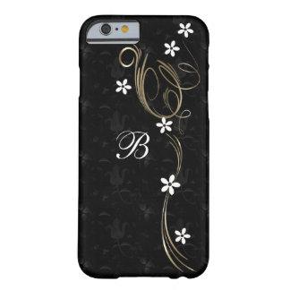 黒及び金ゴールドの花のダマスク織|のモノグラム BARELY THERE iPhone 6 ケース