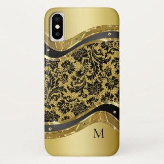 黒及び金ゴールドの金属一見の花柄のダマスク織 iPhone X ケース