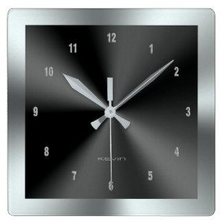 黒及び銀製及び金属ステンレス鋼 スクエア壁時計