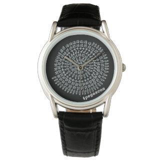 黒地に白い算数曼荼羅 腕時計